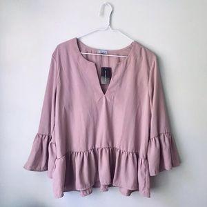 Bohemian style mauve rose pink blouse